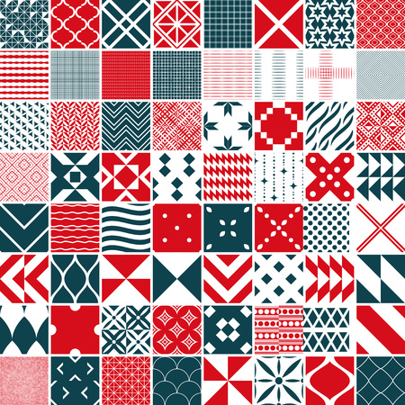 Seamless 64 patterns  with geometric ornament Vector