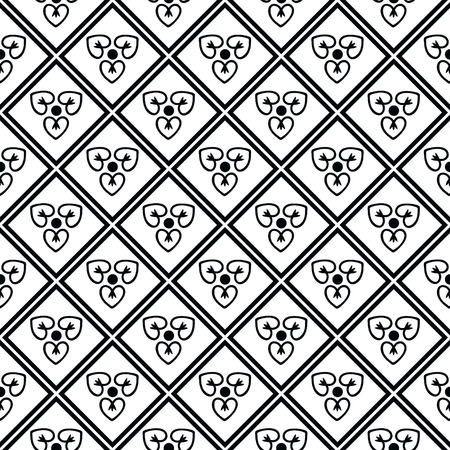 black and white line drawing: Seamless pattern with decorative ornament Illustration