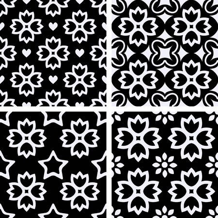 blak and white: Patterns set with decorative ornament Illustration