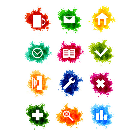 paint drop: Icons set on paint drop imiation Illustration