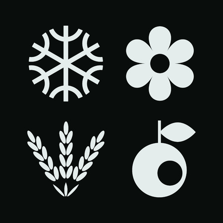 winter wheat: Season simple flat icons collection