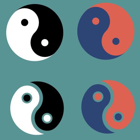 taijitu: Yin and Yang symbos set