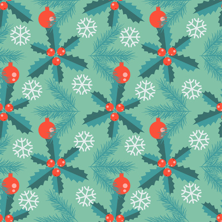 fir branch: Seamless decorative pattern with holly, snow and fir branch