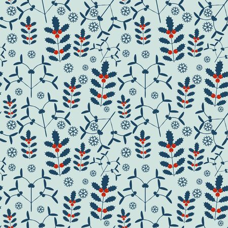 wallpaper: Seamless new year pattern with mistletoe and holly