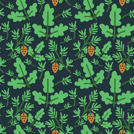 quercus: Seamless pattern with decorative oak and pine tree branches