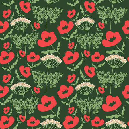 papaver: Seamless  pattern with decorative flowers