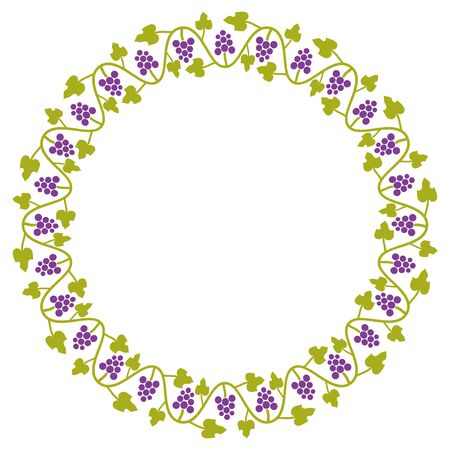 vitis: Circle with simple grape ornament Illustration