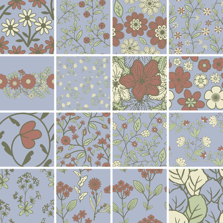 decorative patterns: Seamless patterns with decorative flower