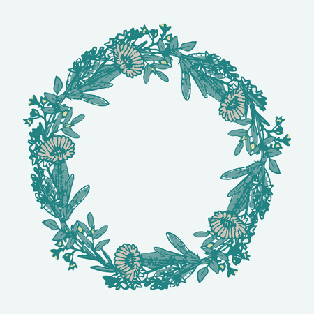 flower leaf: Floral wreath with decorative flowers