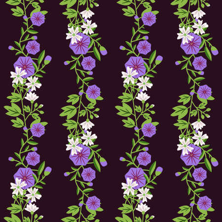 bindweed: Decorative floral pattern with bindweed and mallow Illustration