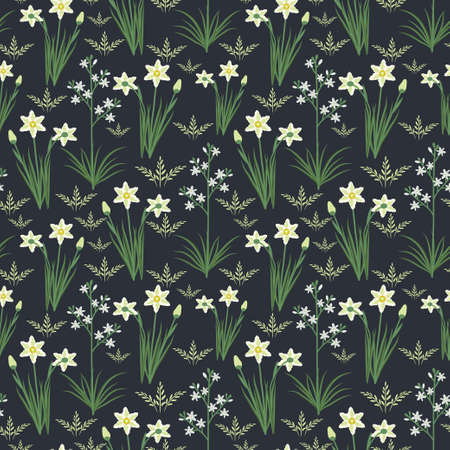 jonquil: Seamless pattern with decorative flowers