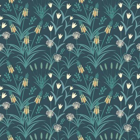 allium: Seamless pattern with decorative flowers