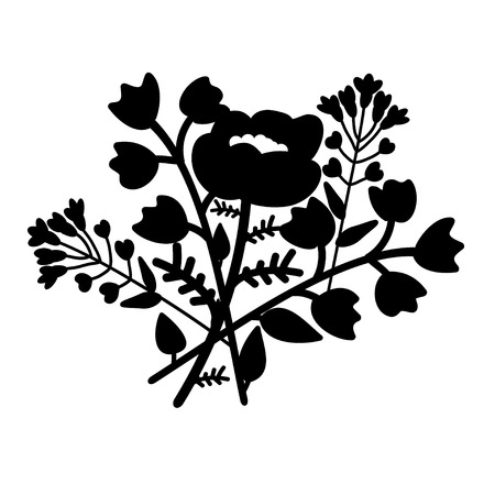 papaver: Decorative flower bouquet with poppy, bellflowers and pennycress Illustration