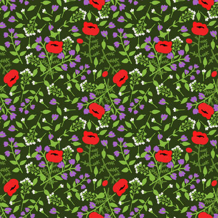 campanula: Seamless pattern with decorative flowers