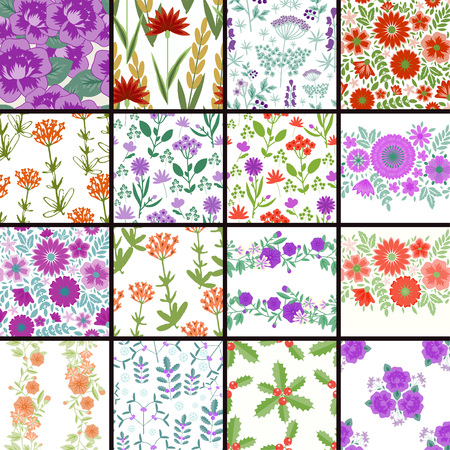 colection: Seamless decorative patterns with flowers