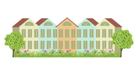 small houses: Small houses and decorative garden