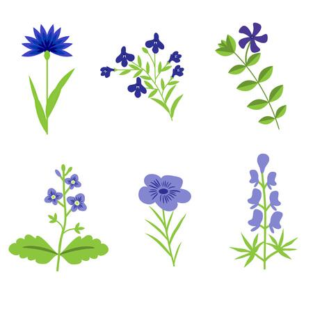 Blue vector flowers isolated set Иллюстрация