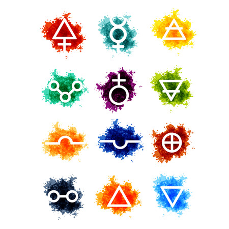 Alchemy vector signs on paint drops Illustration