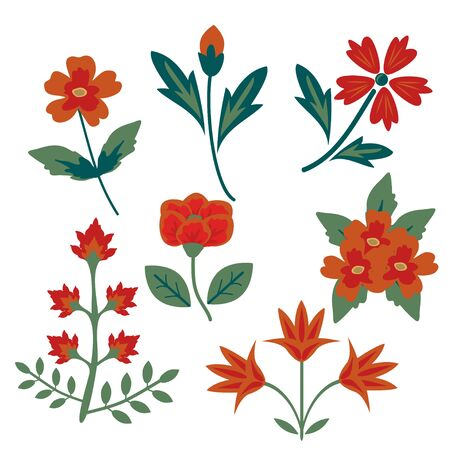 decoraton: Decorative red vector flowers set