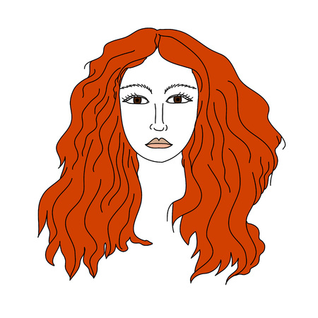 red haired woman: Girl isolated vector face illustration