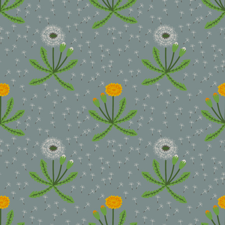 Seamless pattern with decorative dandelions