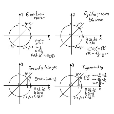 Mathematical problem examples as vector illustration Illustration