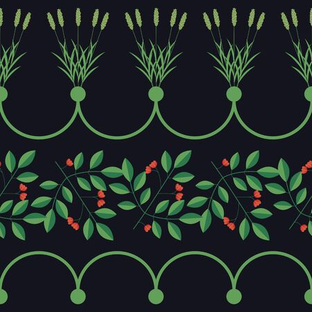 Seamless dercorative vector floral border