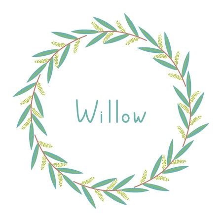 Decorative frame with willow branches Ilustração