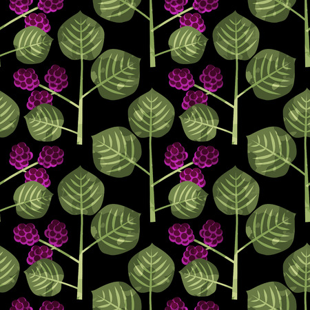 Seamless mulberries decorative vector pattern