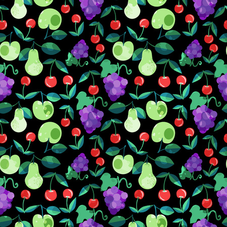 Seamless vector patterns with fruits Illustration