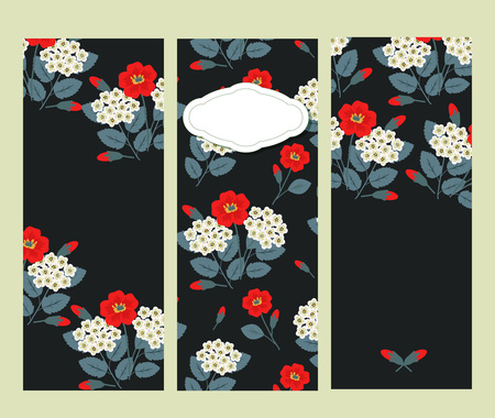 Set of decorative floral banners