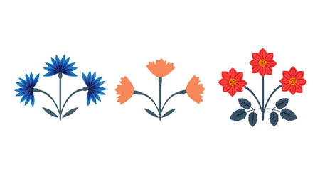 Decorative floral bunches vector set Stock Illustratie