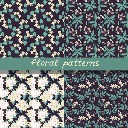 Semless patterns with decorative flowers 矢量图像