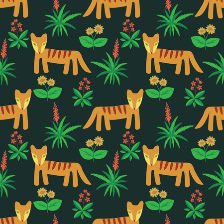 Seamless fantasy nature and animals pattern