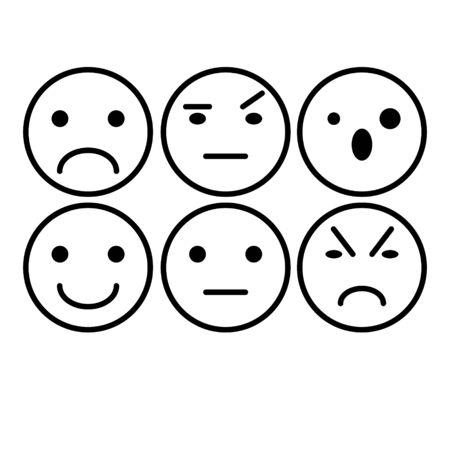 Emoji black and white icons set
