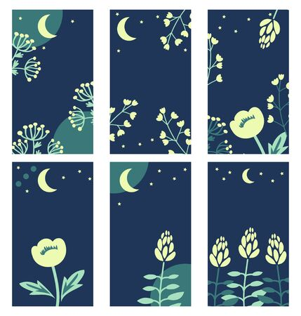 Nigt theme templates with moon and flowers