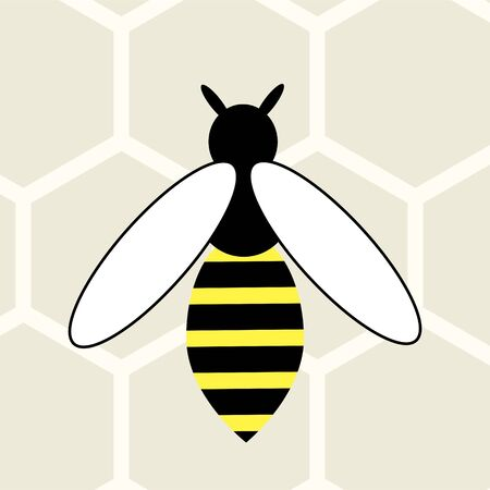 Bee vector icon on honeycomb