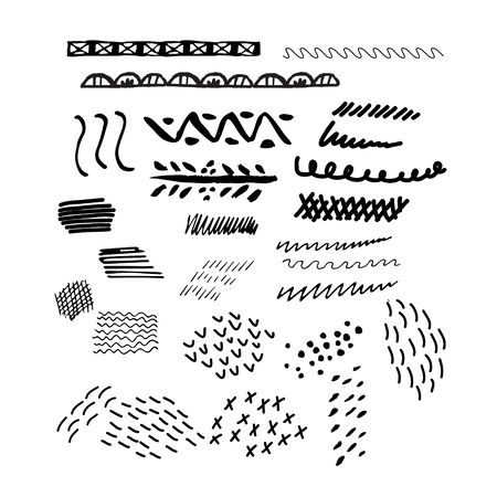 Hand drawn vector brushes set Stock Illustratie