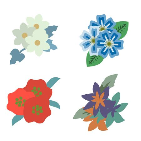 Decorative floral bunches vector set Illusztráció