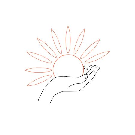 Hand and sun vector icon Ilustrace