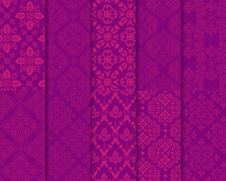 Seamless abstract patterns decorative set