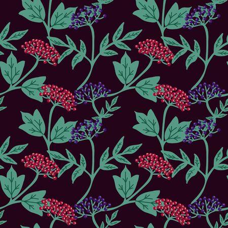 Seamless viburnum and elderberry pattern