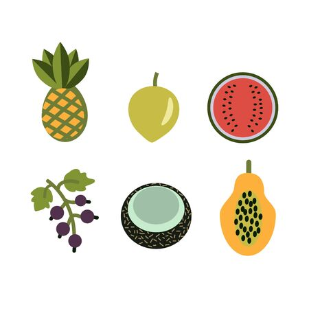 Isolated simple vector fruit icons