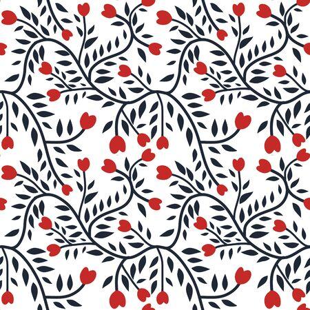 Patrón floral sin fisuras con curvas con corazones rojos