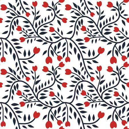 Seamless curvy floral pattern with red hearts