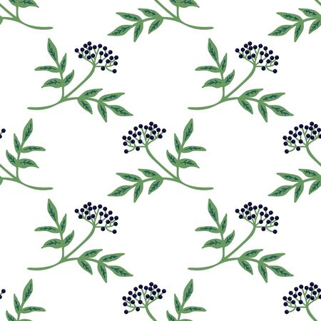 Seamless elderberry branches decorative pattern Illustration