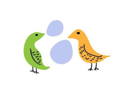 Birds conversation vector cartoon illustration