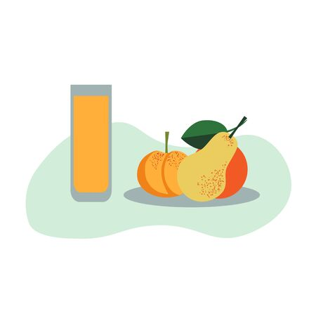 Juice and fruits healthy food illustration