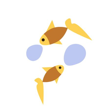 Fishes vector conversation simple illustration