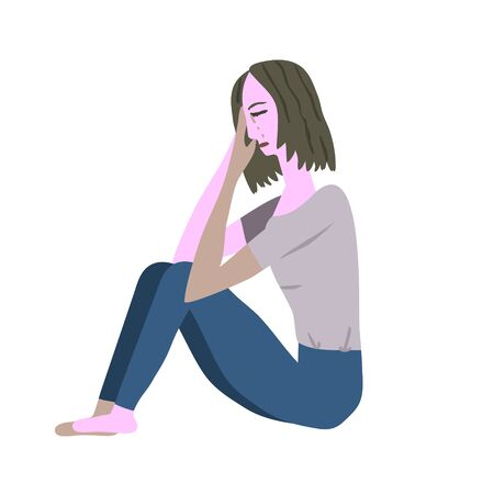 Vector crying sitting girl illustration Illustration